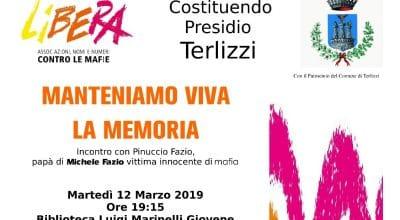 Terlizzi. Manteniamo viva la memoria. Martedì 12 marzo ore 19.15 presso la Biblioteca di Terlizzi.